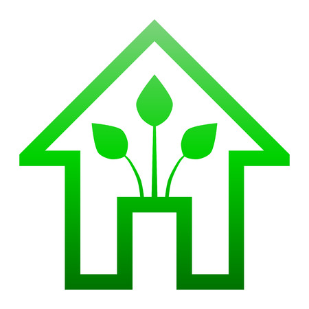 Eco house - green home icon - green gradient outline, isolated - vector illustration Vettoriali