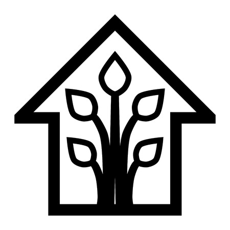 Eco house - green home icon - black outline, isolated - vector illustration