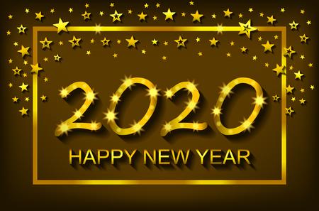 Bonne année 2020 - carte de voeux, flyer, invitation - illustration vectorielle Vecteurs