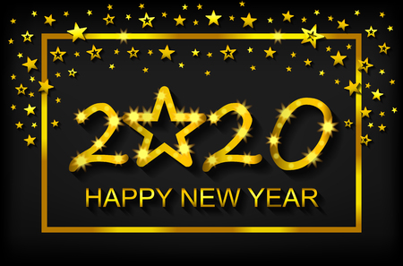 Happy New Year 2020 - greeting card, flyer, invitation - vector illustration
