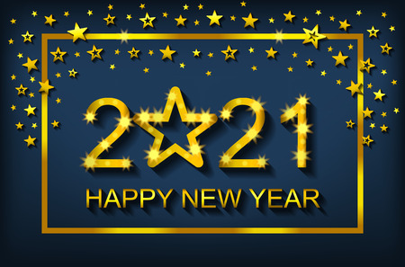 Szczęśliwego Nowego Roku 2021 - kartka z życzeniami, ulotka, zaproszenie - ilustracja wektorowa