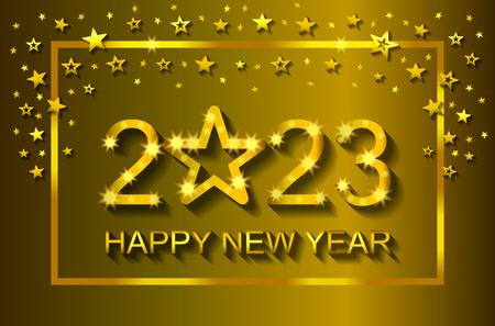 Bonne année 2023 - carte de voeux, flyer, invitation - illustration vectorielle Vecteurs