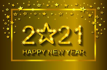 Happy New Year 2021 - greeting card, flyer, invitation - vector illustration