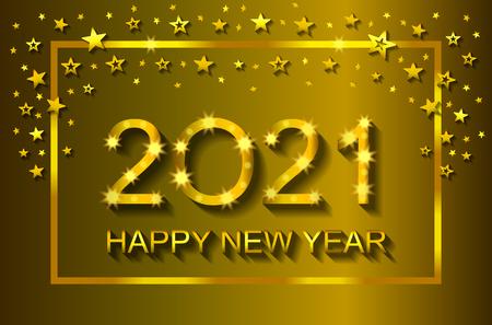 Bonne année 2021 - carte de voeux, flyer, invitation - illustration vectorielle