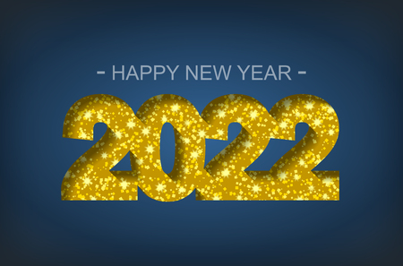 Happy New Year 2022 - greeting card, flyer, invitation - vector illustration Иллюстрация