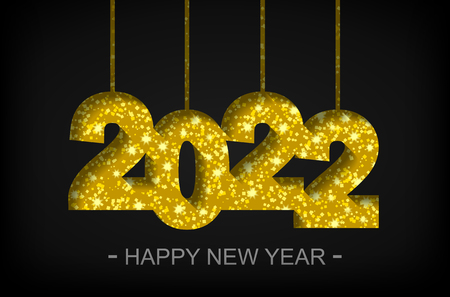 Happy New Year 2022 - greeting card, flyer, invitation - vector illustration