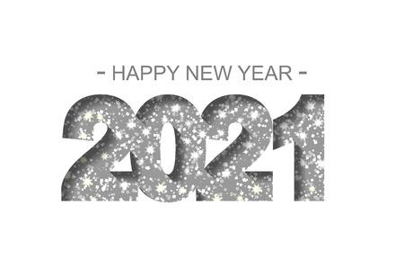 Feliz año nuevo 2021 - tarjeta de felicitación, folleto, invitación - ilustración vectorial