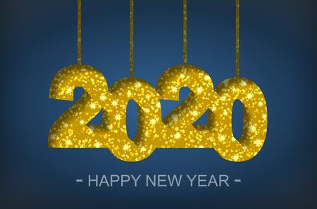 Happy New Year 2020 - greeting card, flyer, invitation - vector illustration Иллюстрация