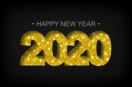 Happy New Year 2020 - greeting card, flyer, invitation - vector illustration Vetores