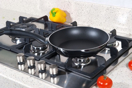 Black frying pan on a plate
