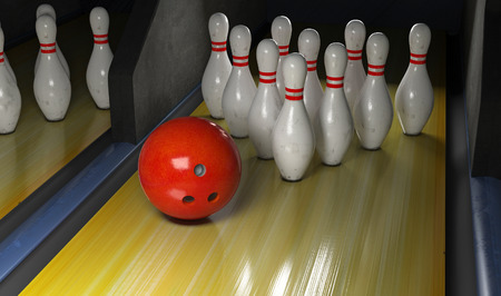 Bowling Strike. Skittles and bowling ball on the track. 3D render