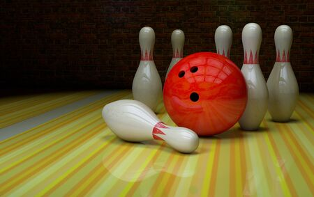 Bowling strike with a ball and skittles on a alley Stok Fotoğraf