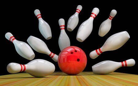 Bowling-Hintergrund mit Kegeln und einem Ball auf der Strecke.