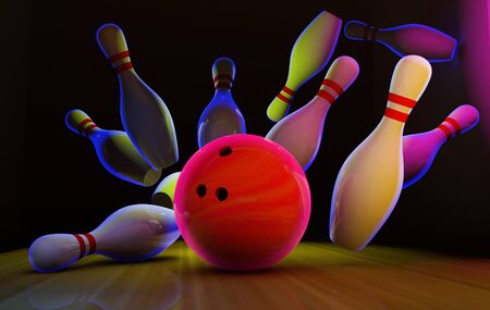 Bowling strike with neon ball and pins