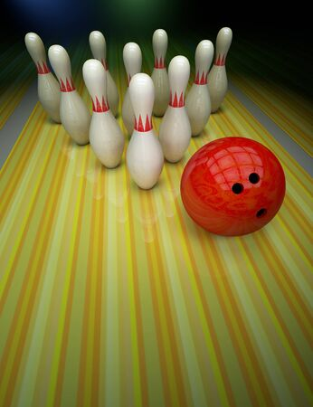 Bowling background with skittles and a ball on the track. Stok Fotoğraf