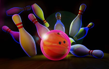 Bowling lane with ball and pins in neon light.