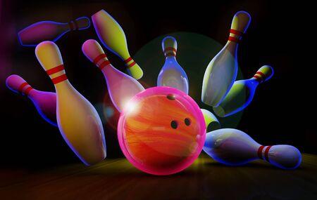 Piste de bowling avec boule et épingles en néon.