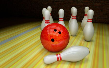 Bowling strike with a ball and skittles Stok Fotoğraf