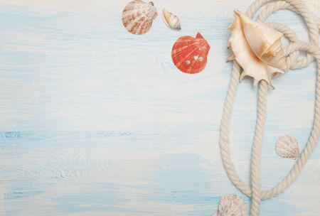 Sea background with blue wood, rope, starfish, shells
