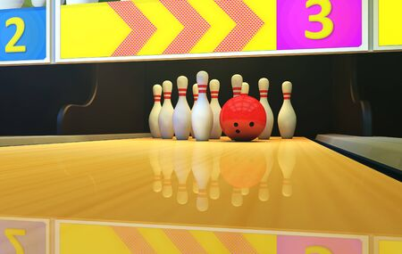 Bowling background with pins