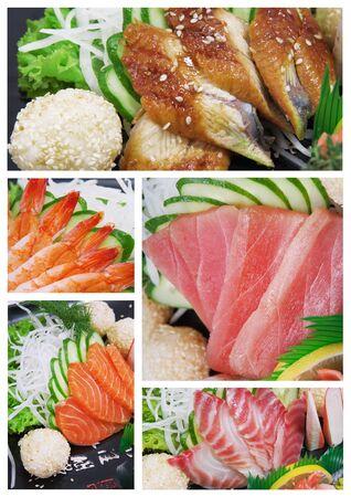 sashimi shrimp, eel, tuna, salmon