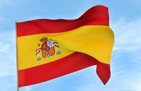 Spain flag on a blue sky background Stok Fotoğraf - 132013130