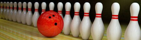 Bowling background with row of pins and ball.