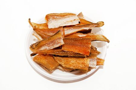 Fish snacks for beer on a plate Stok Fotoğraf