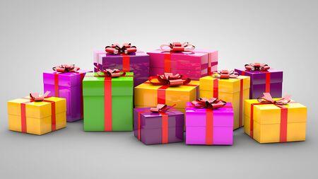 Een stapel geschenken op een grijze achtergrond Stockfoto