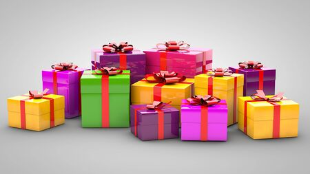 Ein Haufen Geschenke auf grauem Hintergrund Standard-Bild