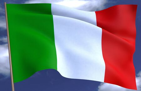 Waving Italy Flag on a sky background.