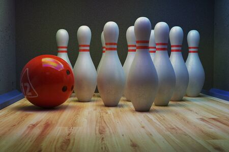 Bowling skittles and bowling ball on the alley. 3D render Stok Fotoğraf