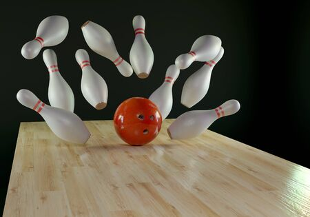 Bowling background with pines and a ball. 3d render