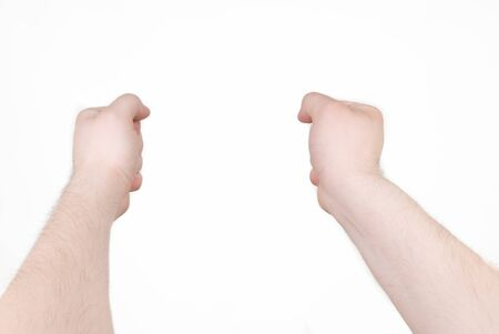 Two male fist on outstretched hand