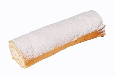 Baking dessert sweet roll on a white background