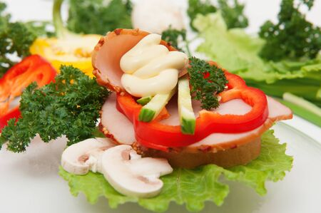 Sandwich with vegetables and herbs