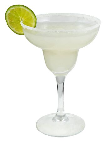 Margarita alcoholic cocktail with lime on a white background