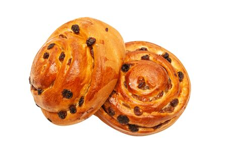 Raisin buns isolated on white background Stock Photo