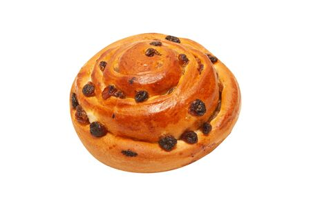 Raisin buns isolated on white background Stockfoto