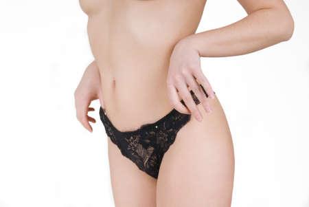 Girl in black lace panties