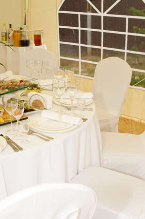 Banquet table for a holiday with festive dishes