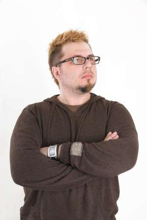 Man with glasses and brown sweatshirt Banco de Imagens