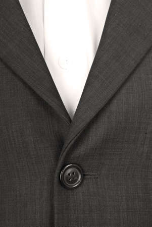 Button on the suit. Suit fabric