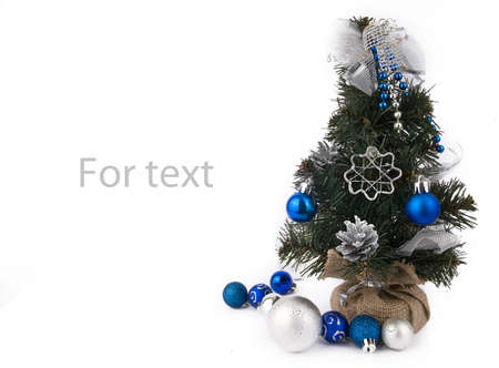Christmas background with New Year tree and white-blue decorations