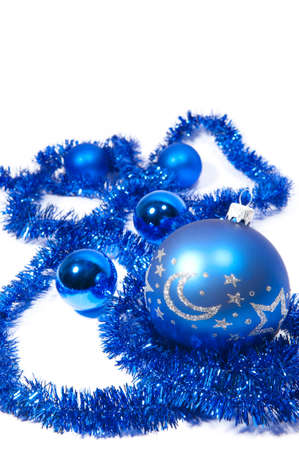 Christmas background with blue decorations on a white background
