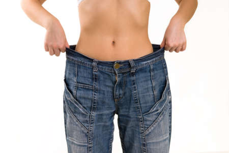 Woman in very large pants. Diet and weight loss Stock fotó