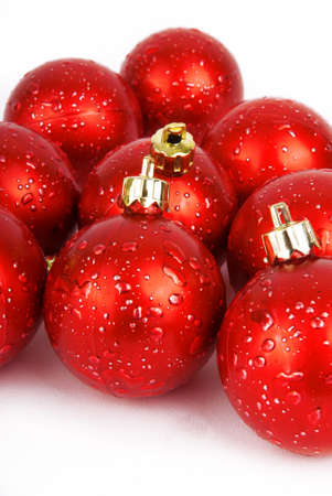 Red Christmas tree decorations glass balls on white background Stock fotó