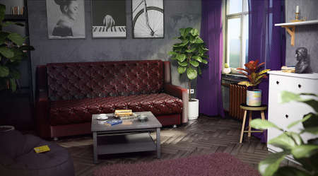 Interior of a room with designer renovation 3d render