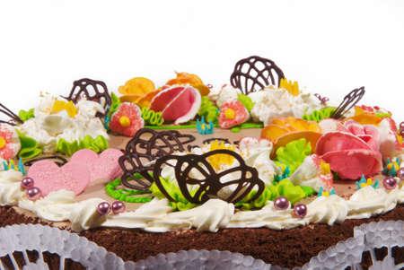 Cake with sweet cream decorations Stock fotó