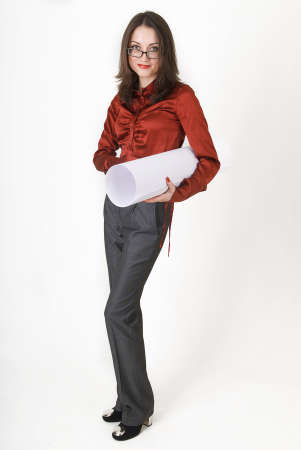 Young business woman in business clothes with a roll of paper
